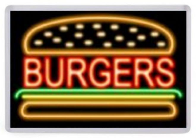 Burgers Neon Sign Fridge Magnet. Retro Americana. Fast Food Diner